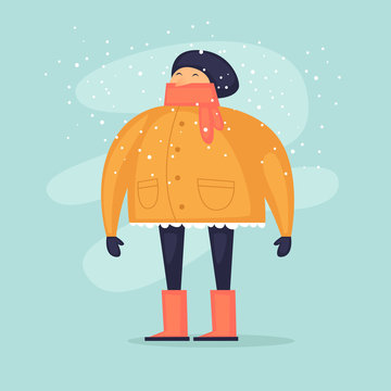 Winter, people are wearing winter clothes. Flat design vector illustration.