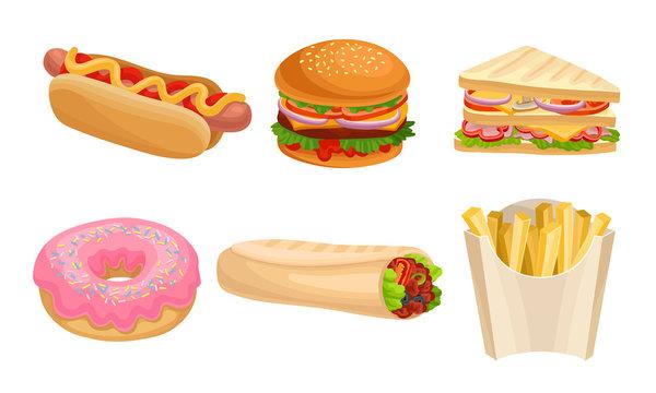 Junk Food Vector Illustrated Set. Fast Food Restaurant Menu Items
