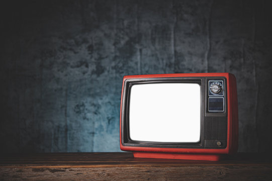 still life with Retro old red TV.