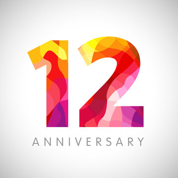 12 th anniversary numbers. 12 years old multicolored logotype. Age congrats, congratulation art idea. Isolated abstract graphic design template. Coloured 1, 2 digits. Up to 12% percent off discount.