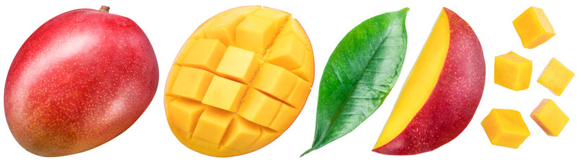 Set of mango fruits and mango slices. Isolated on a white background. Clipping path.