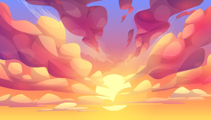 Sunset or sunrise sky, nature landscape background, pink clouds flying in sky to shining sun. Evening or morning view Cartoon vector illustration