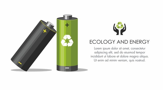 Battery with recycle symbol - renewable energy concept on white.  Battery recycling concept.