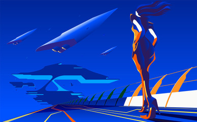 An imagery illustration of a woman walking to the station or base for interstellar transportation in vector art.
