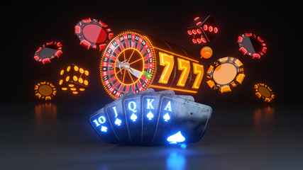 Online Casino Gambling Concept, Poker Cards, Dices And Roulette Wheel - 3D Illustration