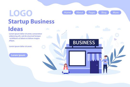 Start up and businesses online web page.Flat vector illustration isolated on white background. Can use for web banner, infographics, web page.