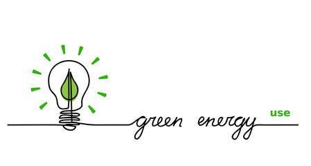 Use green energy. Lamp, lightbulb and green leaf.  One continuous line drawing banner, background, concept.