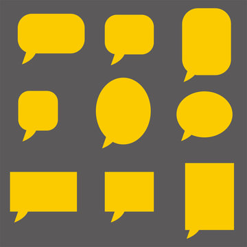 empty yellow speech bubbles on dark background. flat style. Speech bubble icon for your web site design, logo, app, UI. collection of vector speech and thought symbol.