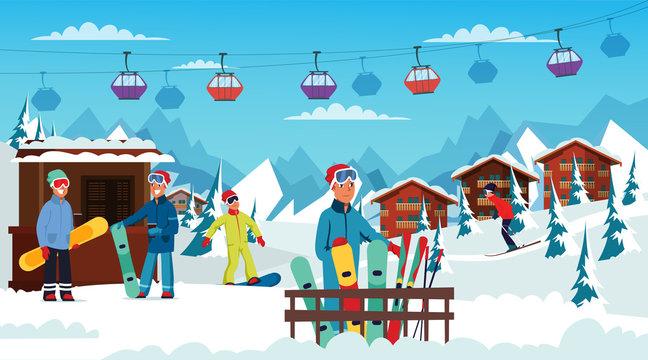 Winter holidays rest flat vector illustration