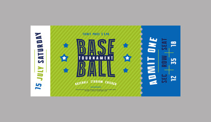 Template of baseball ticket