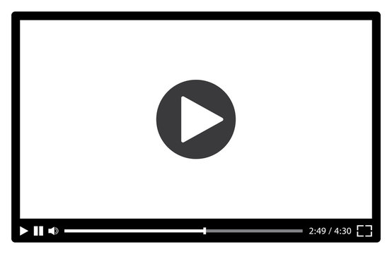 Video player for web in black and white. Vector illustration