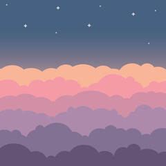Cloud sky beautiful cartoon background. Night sky with colorful clouds flat poster or flyer, cloudscape panorama