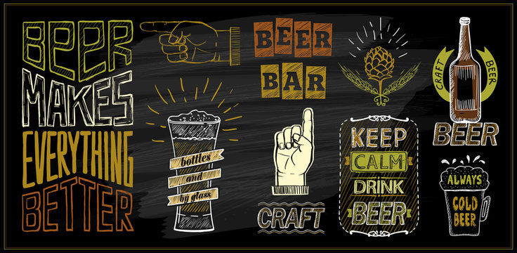 Chalk beer menu board designs set - beer bar, keep calm drink beer