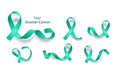 Set of teal ribbons for ovarian cancer charity awareness