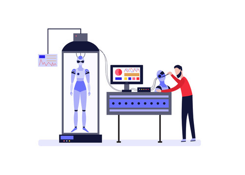 Scientist or engineer invents android robot, flat vector illustration isolated.
