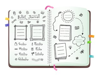 Bullet journal pages with doodle drawings and week layout