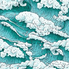 Seamless pattern with ocean water waves and splashes cartoon vector illustration.