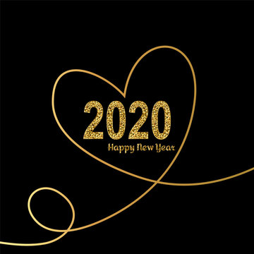 Happy New Year gold number 2020 with hearts in continuous drawing lines. Bright golden design with sparkle. Holiday glitter typography for Christmas banner, calendar, decoration, greeting card Vector