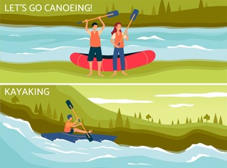 Door stickers Let's go canoeing and kayaking - flat poster set with cartoon people on river