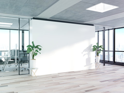 Blank wall in bright concrete office with large windows Mockup 3D rendering