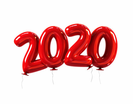 Red Balloons 2020 Sign. Happy New Year Concept. 3d rendering isolated
