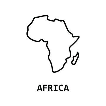 Africa map line icon. İsolated vector.