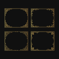 Hand drawn wedding frames set. Vintage decorative borders for invitation cards. Vector isolated antique elegant decor for label design.