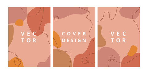Fashion set of abstract background with organic shapes and hand draw line in pastel colors. Modern design template in scandinavian style. Minimal stylish cover for branding design. Vector illustration