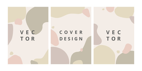 Fashion set of abstract background with organic splash in pastel colors. Modern design template in scandinavian style. Minimal stylish cover for branding design. Vector illustration