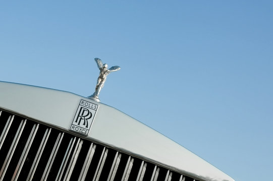 Luxury Rolls Royce grille and Spirit of Ecstasy mascot in Farnborough, UK on April 22, 2011