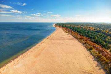 Aerial landscape of the beautiful beach of Baltic Sea in Gdansk, Poland