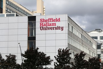 SHEFFIELD, UK - JULY 10, 2016: Sheffield Hallam University in the UK. The public university is 6th largest in the UK with 31,530 students.