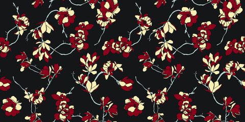 Black, red and beige floral seamless pattern wallpaper- Nordic magnolia flowers background - Vector