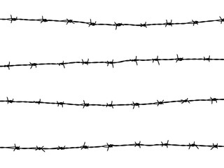 barbed wire of fence on white background