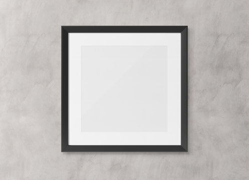 Black squared wooden frame on wall background 3D rendering
