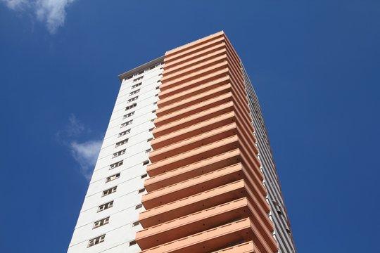 HAVANA, CUBA - FEBRUARY 24, 2011: Edificio Someillan bulding in Havana, Cuba. Someillan bulding is 116m tall and is among 5 tallest buildings in Cuba.