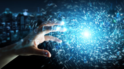 Fototapeta Businessman creating new futuristic energy power source 3D rendering