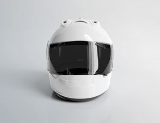 White motorcycle helmet isolated on white Mockup 3D rendering