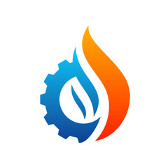 Fire with Gear logo Vector. Flame Logo Design Template. Icon Symbol