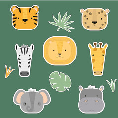 Vector set of stickers with cute animals.  Jungle and savanna animals: tiger, cheetah, lion, zebra, giraffe, hippopotamus, elephant. Cartoon illustration for children