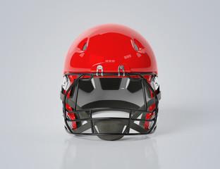 Red American football helmet isolated on grey mockup 3D rendering