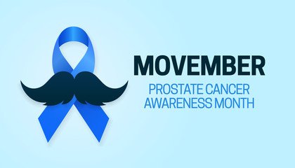 Movember Prostate Cancer Awareness Month poster background campaign design with blue ribbon and mustache vector illustration