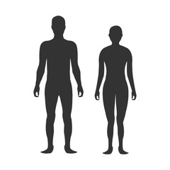 Male and female body silhouette template. Body silhouettes icon for medicine.