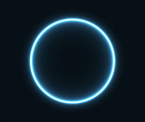 Glowing neon circle in blue.