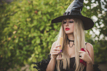 Poster Ideas for Halloween party, concept of autumn holidays, Woman in witch costume