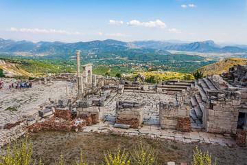 Column and arche of ancient Roman agora at Sagalassos, Turkey