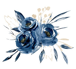 Blue flowers watercolor with gold leaf, floral clip art. Bouquet roses perfectly for printing design on invitations, cards, wall art and other. Isolated on white background. Hand painting.