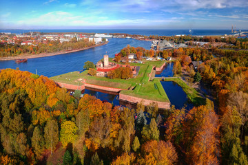 Wisloujscie fortress in autumnal scenery in Gdansk, Poland. Aerial view