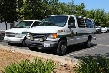 FRESNO, UNITED STATES - APRIL 12, 2014: Sheriff cars in Fresno, California. As of 2009 law enforcement agencies in the US employed more than 1 million people.
