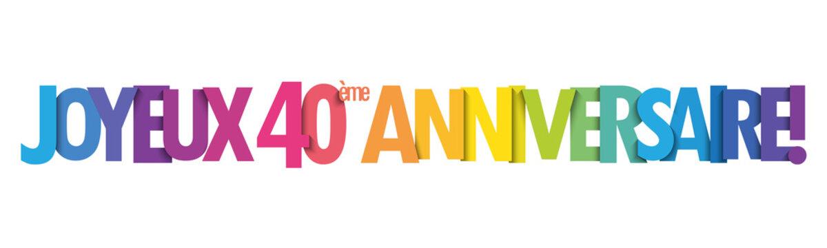 Bannière typographique arc-en-ciel JOYEUX 40eme ANNIVERSAIRE